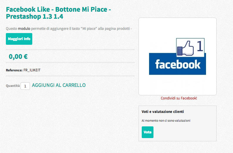Facebook Like - Bottone Mi Piace - Prestashop 1.3 1.4